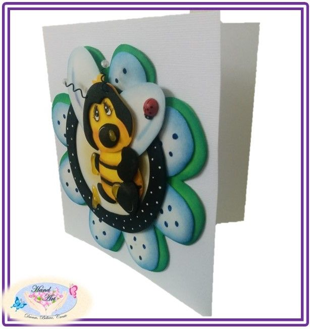 Bee Card, handmade small gift card, made with Eva Foam, Goma Eva, Foami. Recyclable material.
