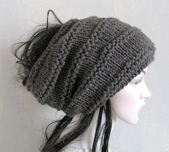 Black Slouchy Beanie Dreadlock Tam Winter Beanie Hat For