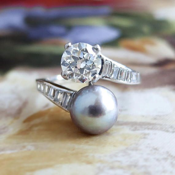 "Freshwater Cultured Pearl Bypass Bangle avec diamants en argent sterling 8/"""
