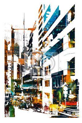 Fotomural ciudad moderna urbana, pintura ilustración