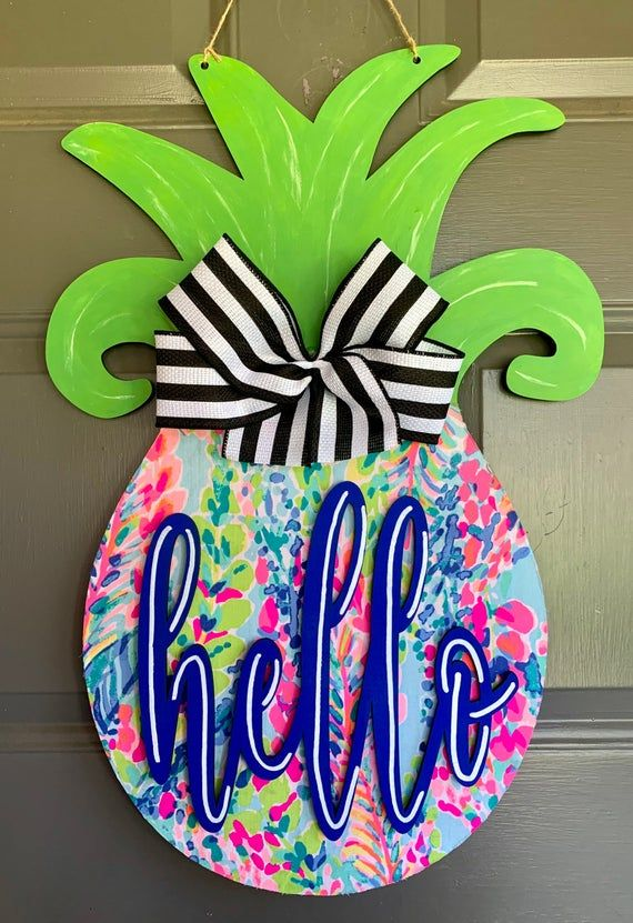 party decoration gift hello summer fun family welcome door hanger Pineapple hand-painted hanging wood sign
