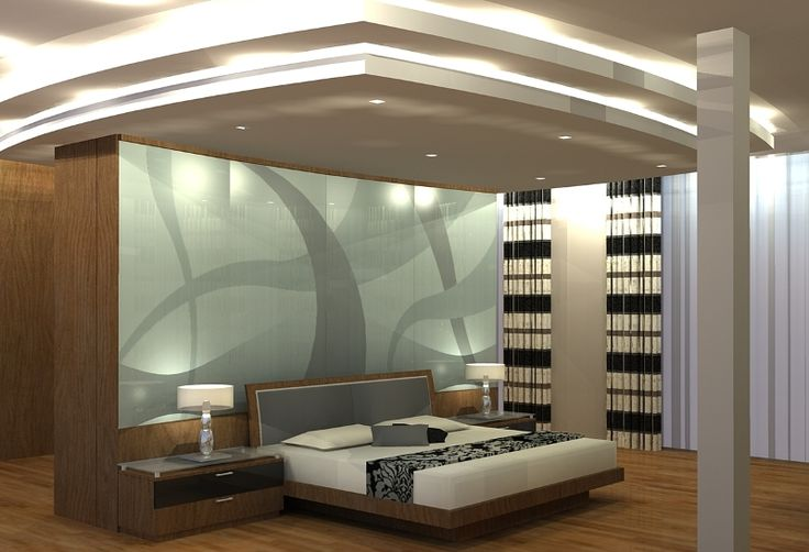 Master bedroom design with curved sandblasted rear feature wall