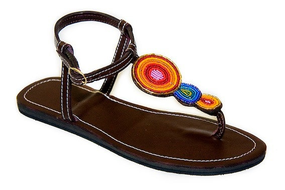 Hand Beaded Leather TBar Sandal by HittheBeach on Etsy, $60.00