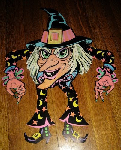 vintage halloween huge beistle jointed witch diecut cutout good cond 1960s - Vintage Halloween Decorations Ebay
