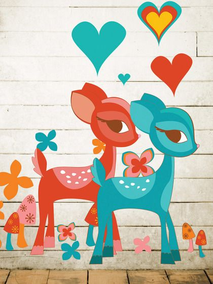 Baby Deer Wall Decal. This Deerly Beloved wall decal will make you