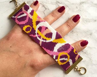 Circles Peyote Stitch Bracelet Pattern for Size 11/0 Miyuki Delicas - Purple, Pink, White, Yellow - Flat Even Count Peyote Stitch