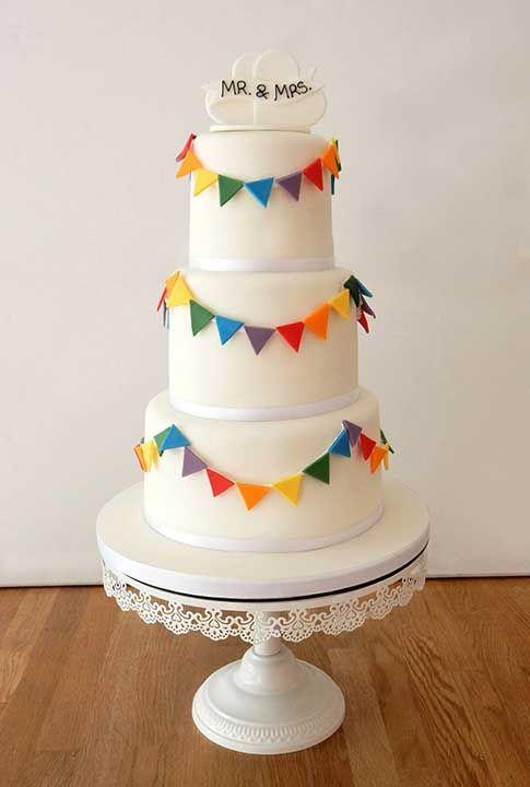 Rainbow Bunting Wedding Cake