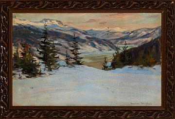 GUSTAV WENTZEL CHRISTIANIA 1859 - LILLEHAMMER 1927  Spor i snøen Olje på lerret, 50x80 cm Signert nede til høyre: Gustav Wentzel