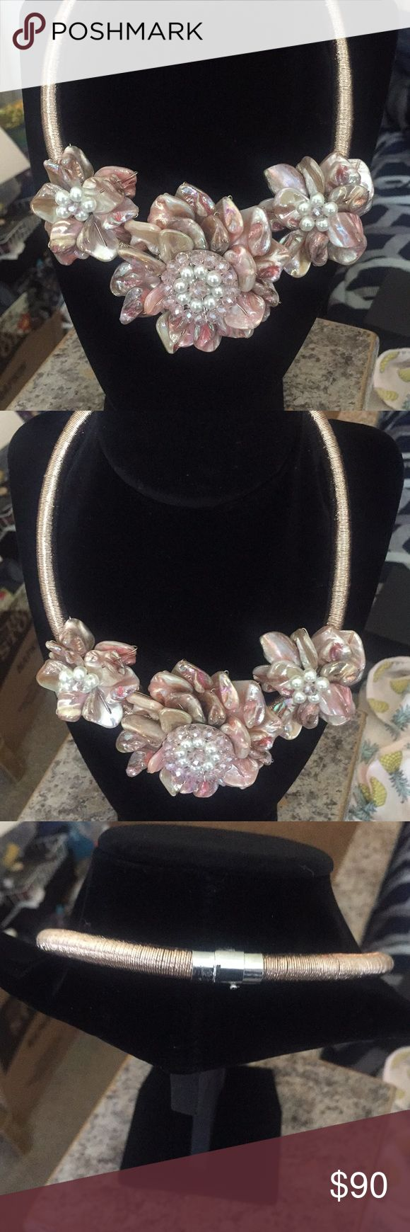 Pearl statement necklace. Never worn. Excellent condition. Contains freshwater pearls. This is a soft pinkish taupe color. Gorgeous. Jewelry Necklaces