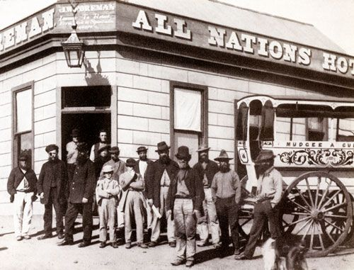 All Nations Hotel, Gulgong 1872. One of the miners has an eye injury - probably from a premature blast.