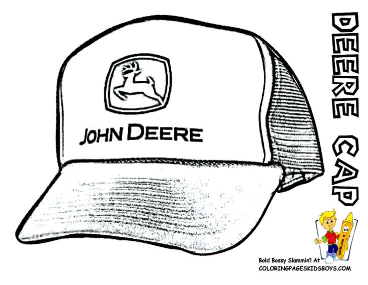 John Deere #Tractor Coloring Page of Baseball Cap. You Can Print Out and Color This #JohnDeere Picture... http://www.yescoloring.com/images/53_tractor_deere_cap_coloringkidsboys.gif