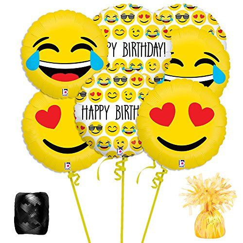 Make your party special and get the Emoji Balloon Bouquet Kit today while supplies last. This great product from our Kids party balloons department. Balloons sold flat. Helium tanks and air pumps can be purchased separately on our site. Kit Includes: 3 Birthday Emoji 18 Balloons, 2 LOL Emoji 18 Balloons, 2 Heart Emoji 18 …