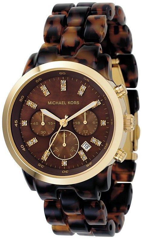 Michael Kors Chronograph Tortoise Acrylic Ladies Watch $161.95