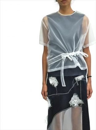 Evelyn White Organza Top by REJINA PYO