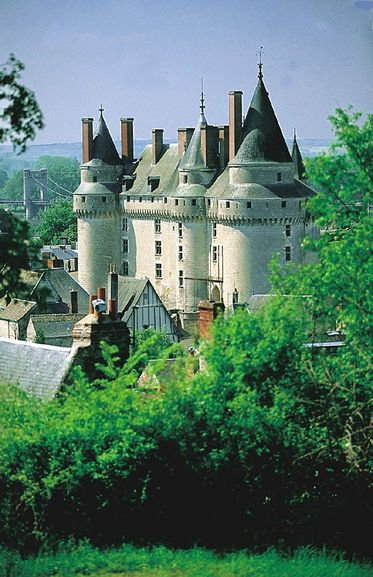 Langeais Château, Fort, and Bridge. Loire River (longest river in France) Loire Valley, France