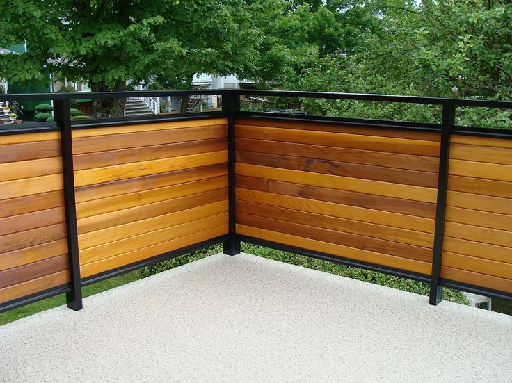 Dek Rail Privacy Guardrails With Aluminum Frame And Horizontal 1 X 4 Cedar  Infill Panels · Patio RailingRailing IdeasPatio DecksPatio FenceFence ...