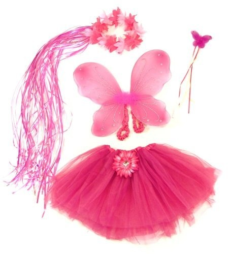 Pink & Hotpink 4 Piece Flower Fairy Princess Costume Set. Includes Tutu, Wings, Wand and Flower Halo Lil Princess, http://www.amazon.com/dp/B0046MSNR0/ref=cm_sw_r_pi_dp_anakqb1SWKJQK