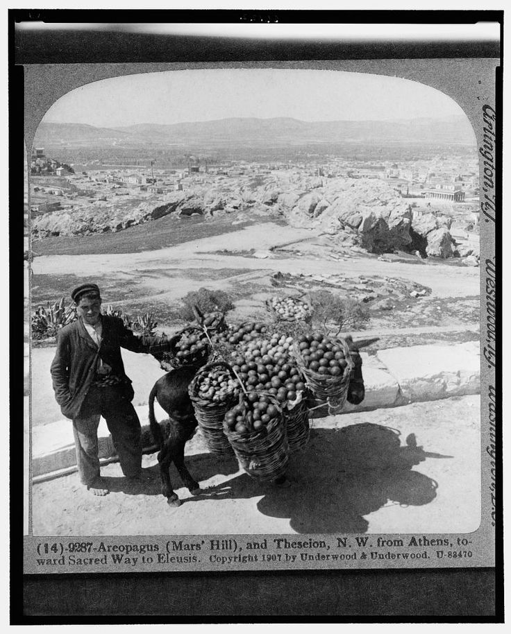 Man with donkey with baskets of fruit on its back in Areopagus (Mars' Hill), and Theseion, N.W. form Athens, toward sacred way to Eleusis  Date Created/Published: c1907 Jan. 31. Repository: Library of Congress Prints and Photographs Division Washington, D.C. Collections: Stereograph Cards. Copyright by Underwood & Underwood. This record contains unverified, old data from caption card. http://www.loc.gov/pictures/
