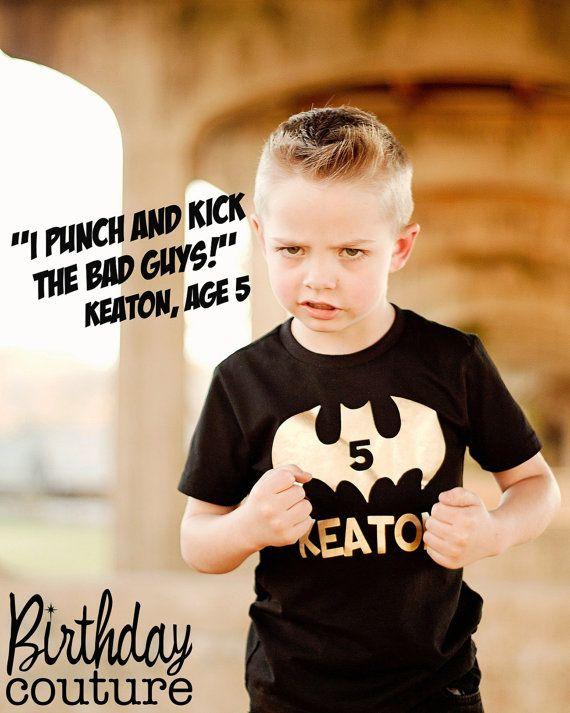 Batman Inspired Superhero Birthday Shirt - Personalized Superhero Birthday Shirt - Can be customized for any age. on Etsy, $25.00