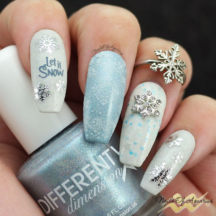 First Snow Winter Nail Art With Different Dimension Snow Nails Winter Nail Art Winter Nails