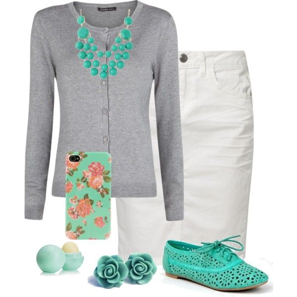 """Turquoise and Grey"" by modest-16 on Polyvore...just the skirt, sweater, and necklace"