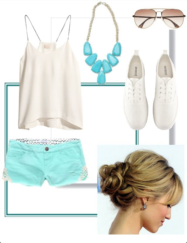 Cute Teal Summer Beach Outfit