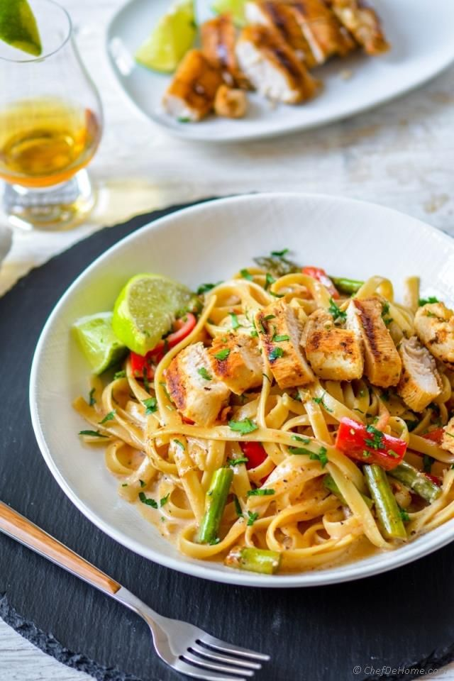 Chicken Tequila Fettuccine - Tequila-Lime marinated juicy chicken, creamy tangy lime-cream sauce coated fettuccine pasta, with crunchy peppers, shallots and asparagus. Every forkful of this Italian...