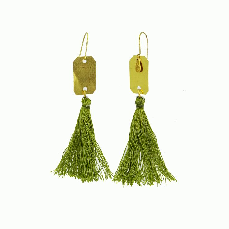 Brass| Green Tassel Dangle Earrings | A.R.Werner