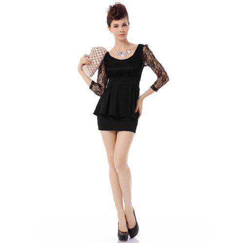 Allegra K Sheer Lace Long Sleeve U Neck Mini Peplum Dress for Ladies
