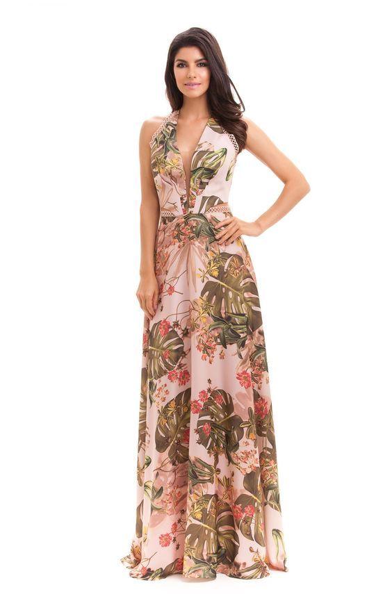 0db0210f95 Vestidos longos estampados e simples - Vestido do dia