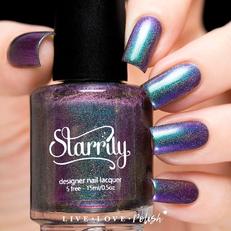 Starrily Aurora Nail Polish | Starrily Aurora is a multichrome polish that shifts between shades of green, blue, and purple, with subtle holographic sparkle and a soft foil finish.