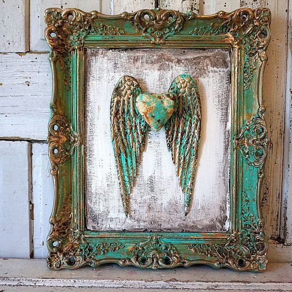 Framed angel wings wall hanging distressed shabby cottage chic aqua-green and gold framed wings w/ aged wood background anita spero design
