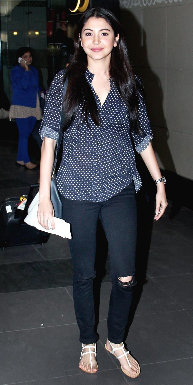 Anushka Sharma spotted at airport. #Style #Bollywood #Fashion #Beauty