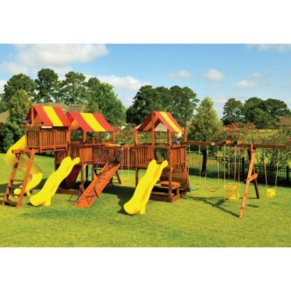 5' Combo with Tarps Tree Frog Transformed their swing sets by fuzing their best swing sets together with classic play events kids love! #playset #swingset #treefrog #galaxy #wood #kids #outdoors #fun #slide #swing #playcenter #fort