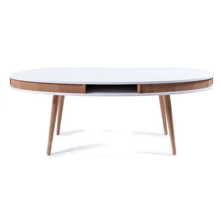 Hugo sohvapöytä, soikea, valkoinen/tammi ryhmässä Huonekalut / Pöydät / Sohvapöydät @ ROOM21.fi (123003)