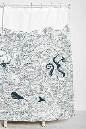 Whale shower curtain by Urban Outfitters