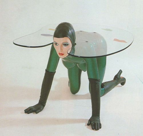 Allen Jones, woman-as-furniture sculpture. I'm hesitant. This table doesn't seem very stable if you know what I'm sayin'.