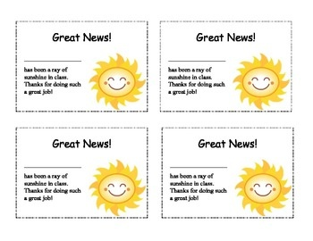 Printable Positive Behavior Notes to Send Home (in English and Spanish)