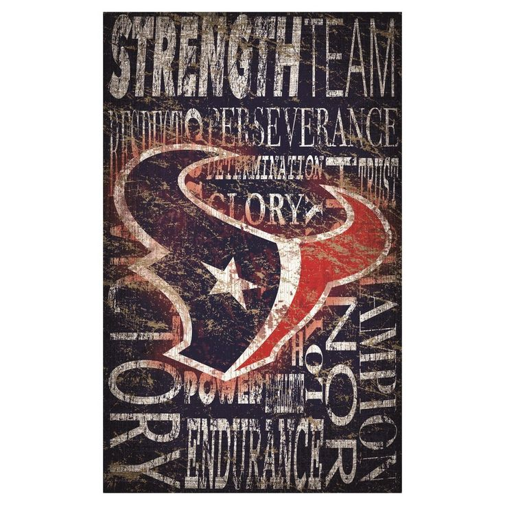 "NFL Houston Texans Heritage Word Collage 11"" x 19"" Sign"