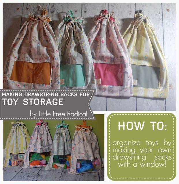 making drawstring sacks for toy storage & organization
