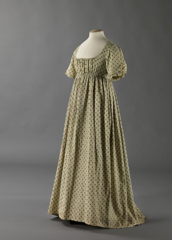 Dress: ca. 1800-1810, Norwegian, cotton with printed pattern, lined with linen, cotton, satin.
