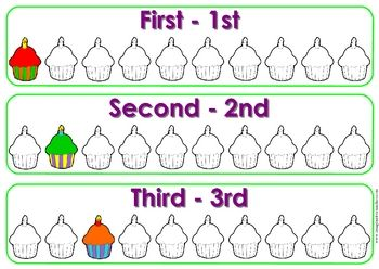 Help students remember the ordinal numbers of 1st - 10th. Includes desk stand ups....