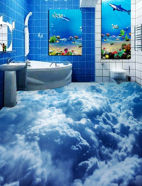 3d Cloud Sea F502 Floor Wallpaper Murals Self Adhesive Etsy In 2020 Floor Wallpaper Floor Murals Bathtub Design