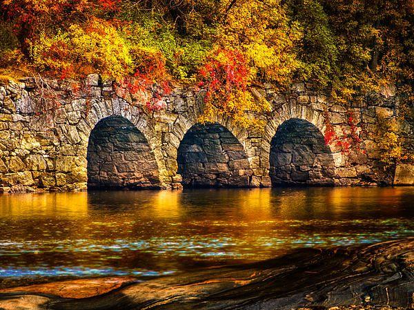 Three Tunnels - Original fine art color landscape waterscape photography by Bob Orsillo. Copyright (c)Bob Orsillo / http://orsillo.com - All Rights Reserved.  Buy art online. Buy photography online  Autumn colors along the Androscoggin River Lewiston / Auburn Maine. Photography by Bob Orsillo