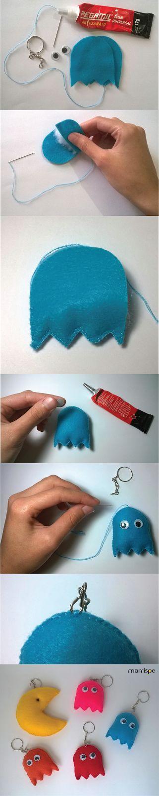 Passo-a-passo Pac-Man em feltro #artesanato #decoração #feltro #Pac-Man…