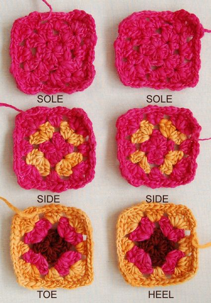Knitting Pattern Slippers Squares : 25+ best ideas about Granny Square Slippers on Pinterest Crocheted slippers...