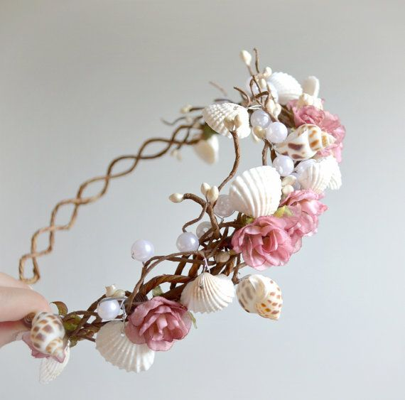 Corona sirena perla corona diadema rosa rosa por gardensofwhimsy