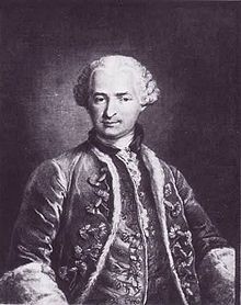 An engraving of the Count of St. Germain by Nicolas Thomas made in 1783, after a painting then owned by the Marquise d'Urfe and now apparently lost. Contained at the Louvre in France