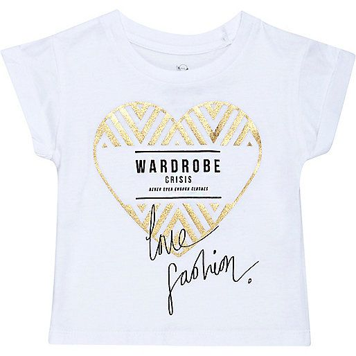 Mini girls white heart print t-shirt