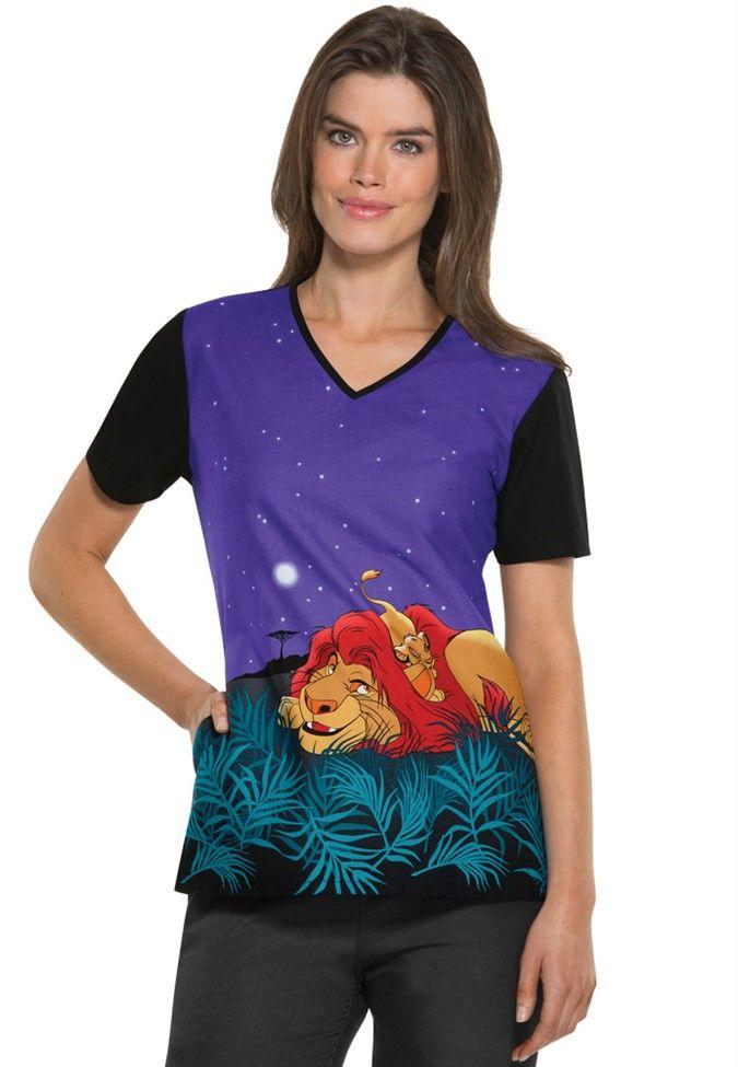 Cherokee Tooniforms The Lion King print scrub top   Scrubs and Beyond